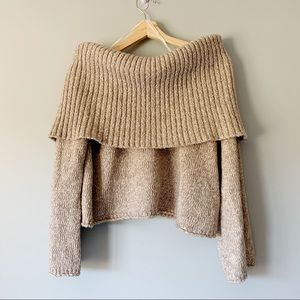 Aerie Off The Shoulder Sweater Knit Beige Size XL